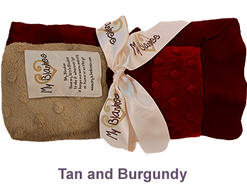 Tan Burgundy Dot Velour Two Tone Blanket by My Blankee