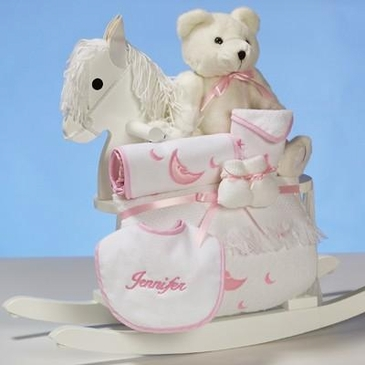 Teddy Bear and Rocking Horse For Girl (Personalized)