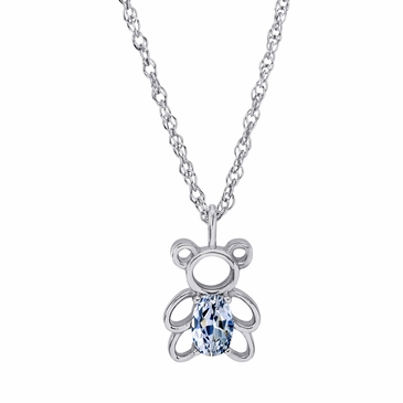 Teddy Bear April Birthstone Pendant Necklace