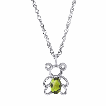 Teddy Bear August Birthstone Pendant Necklace