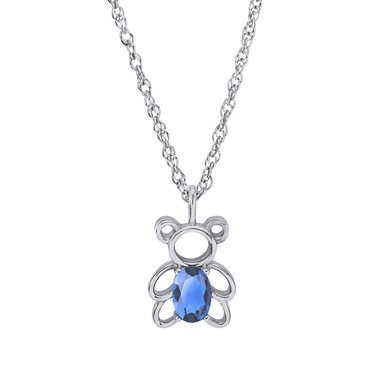 Teddy Bear December Birthstone Pendant Necklace