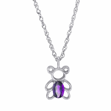 Teddy Bear February Birthstone Pendant Necklace