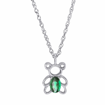 Teddy Bear May Birthstone Pendant Necklace