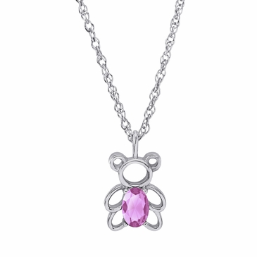 Teddy Bear October Birthstone Pendant Necklace