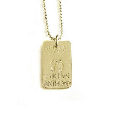 The Birth Necklace Rectangle - 18k Gold