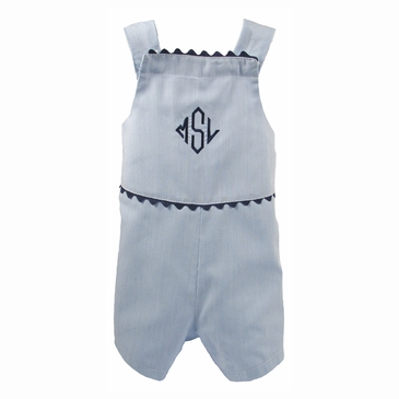 The Hamptons Pinstriped Romper Trimmed in Navy Blue