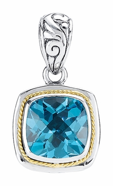 Topaz Sterling Silver Pendant With Filigree Design