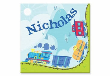 "Train Canvas Wall Art Personalized - 15"" x 15"""