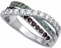 Triple Birthstone Crossover Band Gold Ring - with Genuine Stones - click to Enlarge