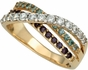 Triple Birthstone Crossover Band Gold Ring - with Simulated Stones - click to Enlarge