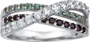 Triple Birthstone Crossover Band Gold Ring - with Simulated Stones