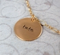 Triple Charms Name Necklace in Gold - click to Enlarge