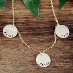 Triple Tiny Charms Name Necklace in Gold