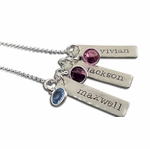 Triple Dainty Name Tags with Birthstones