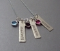 Triple Dainty Name Tags with Birthstones - click to Enlarge