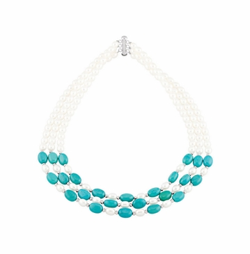 Triple Strand Natural Pearl And Genuine Turquoise Necklace