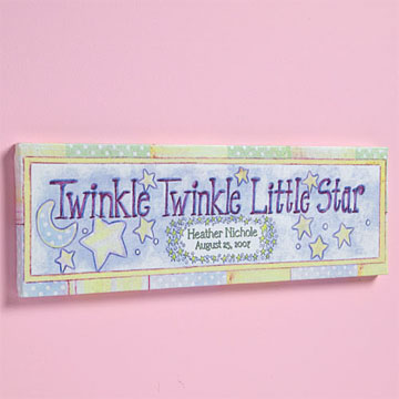 Personalized name tiles name plaques childrens name tiles twinkle twinkle little star baby name canvas negle Images