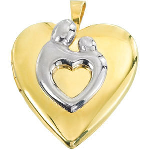 Two-tone Polished Mother and Child Heart-shaped Locket