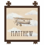 Vintage Plane III Stretched Art Personalized by Dish and Spoon