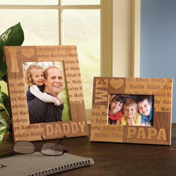 We Love Dad Personalized Wood Picture Frame