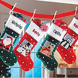 Whimsical Snowball Christmas Stockings - Personalized