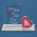 Wife Valentine Heart Glass Display