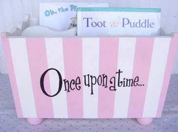 Wooden Book Holder - Pink Stripe