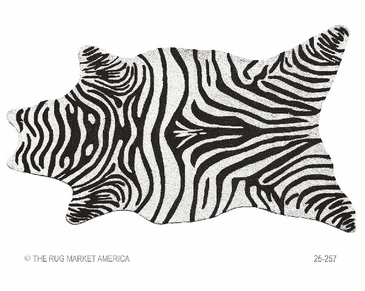 Zebra Black Shaped Hook Rug