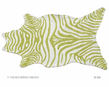 Zebra Green Shaped Hook Rug