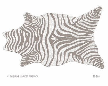 Zebra Grey Shaped Hook Rug
