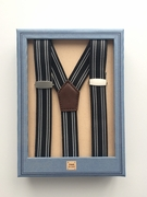 Boys Black and White Stripe Suspenders with Clips