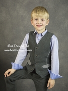 Boys Charcoal Brush Flannel w/Houndstooth Vest