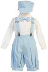Lito Boys Suspender Knickers with Hat – Blue