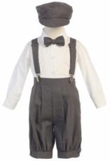 Lito Boys Suspender Knickers with Hat – Charcoal