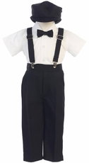Lito Boys Suspender Pant Set with Hat - Black