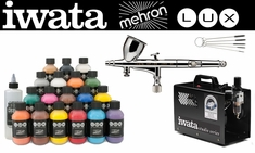 Mehron Lux Deluxe Kit with Iwata Hi-Line CH Airbrush & Smart Jet Pro Compressor