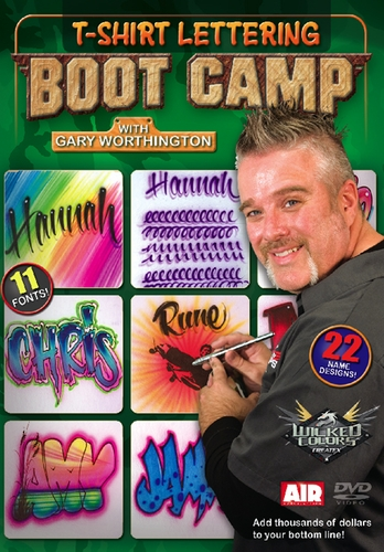 t shirt lettering boot camp with gary worthington airbrush action dvd. Black Bedroom Furniture Sets. Home Design Ideas