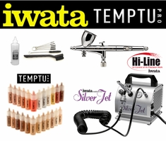 Airbrush Makeup Kit with Iwata Hi-Line Airbrush and Silver Jet Compressor