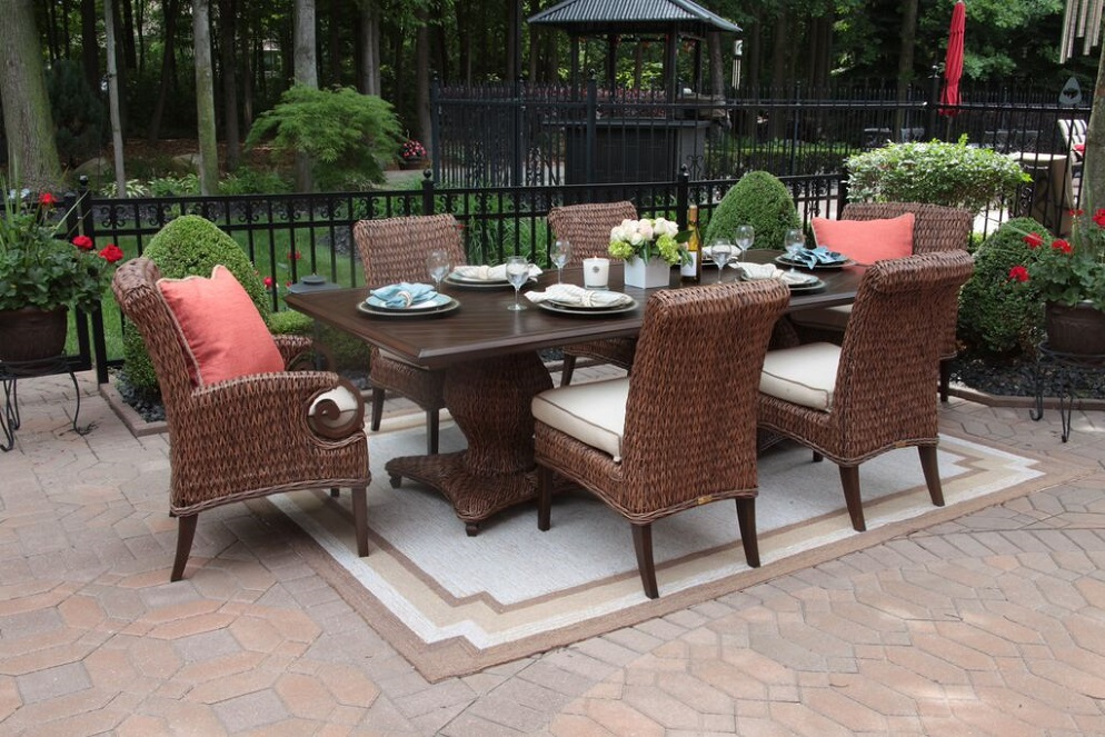 outdoor tables aluminum dining davenport set chairs sunbrella sets island agio ny pice long products patio dennison furniture