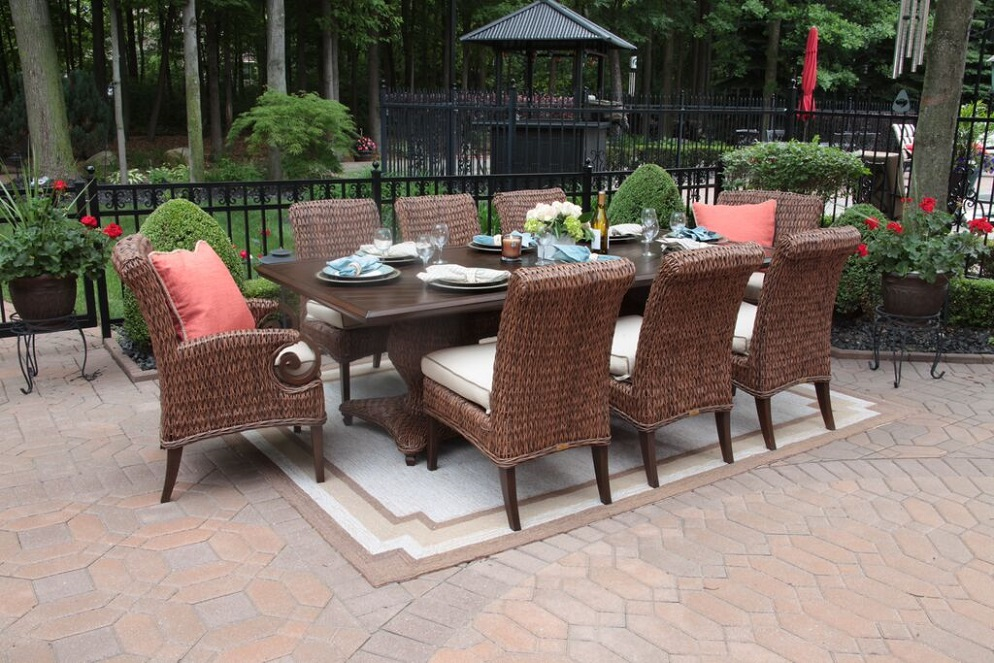 Aerin Collection All Weather Wicker Luxury Patio Furniture 8 Person Dining  Set