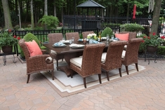 Aerin Collection All Weather Wicker Luxury Patio Furniture 8-Person Dining Set
