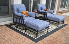 Amia 2-Person Luxury Cast Aluminum Patio Furniture Chat Set W/Stationary Chairs