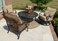Amalia 4-Person Luxury Cast Aluminum Conversation Set W/Drink Table And Swivel Chairs