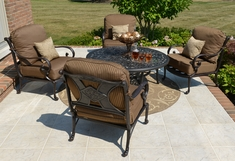 Amalia 4-Person Luxury Cast Aluminum Conversation Set W/Drink Table And Stationary Chairs