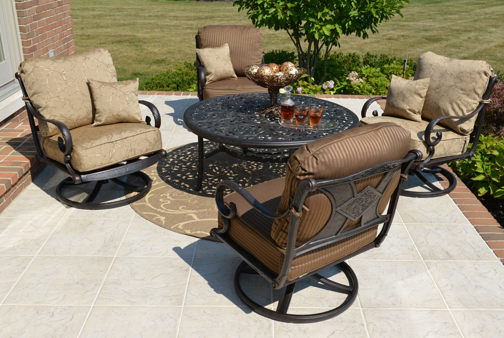 Amalia 4 Person Luxury Cast Aluminum Conversation Set W Drink Table And Swivel Chairs