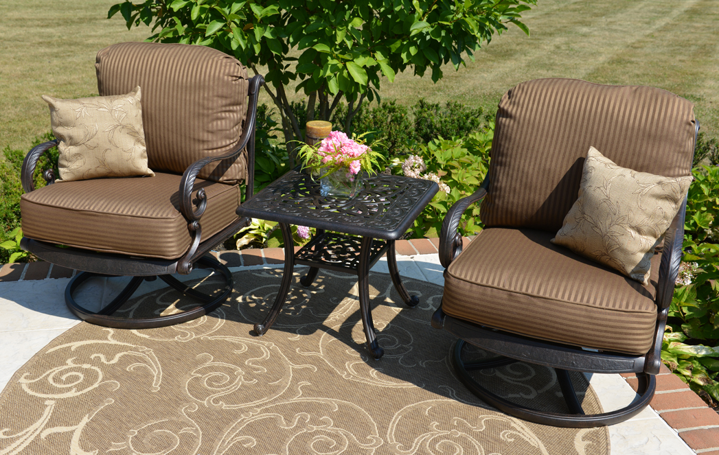 Nice Amalia 2 Person Luxury Cast Aluminum Patio Furniture Chat Set W/Swivel  Chairs