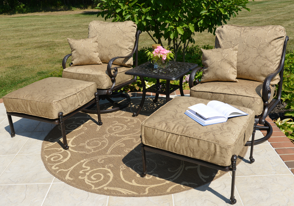 Charmant Amalia 2 Person Luxury Cast Aluminum Patio Furniture Chat Set W/Swivel  Chairs And Ottomans