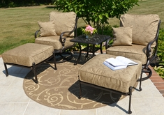 Amalia 2-Person Luxury Cast Aluminum Patio Furniture Chat Set W/Swivel Chairs And Ottomans