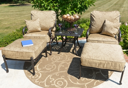 Amalia 2-Person Luxury Cast Aluminum Chat Set W/Stationary Chairs And Ottomans