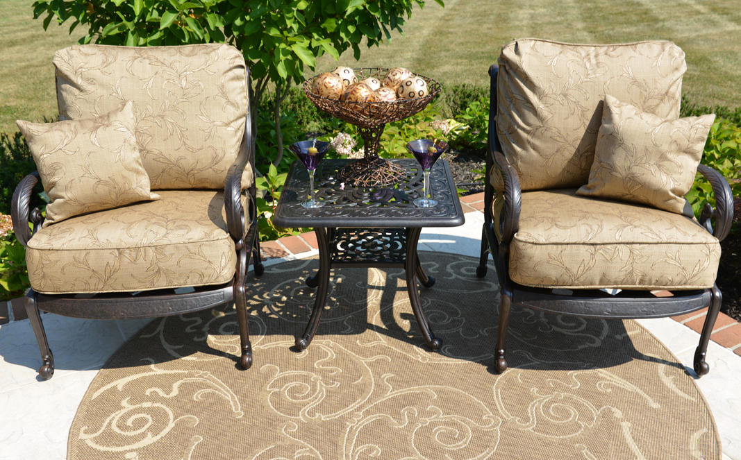 Amalia 2 Person Luxury Cast Aluminum Patio Furniture Chat Set W/Stationary  Chairs